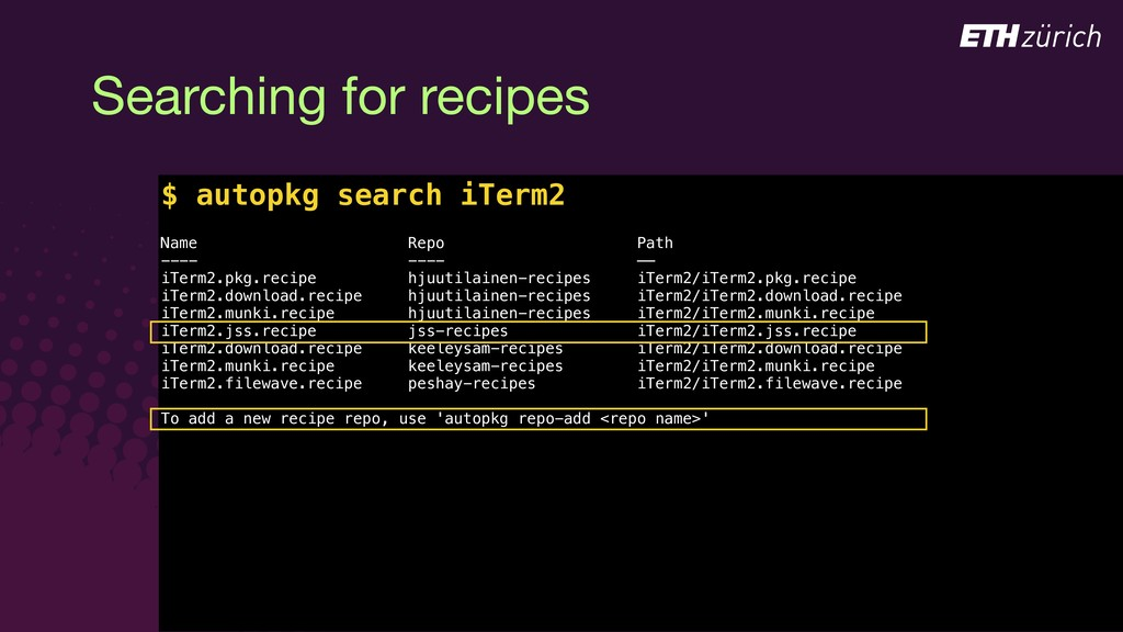 © JAMF Software, LLC $ Searching for recipes $ ...