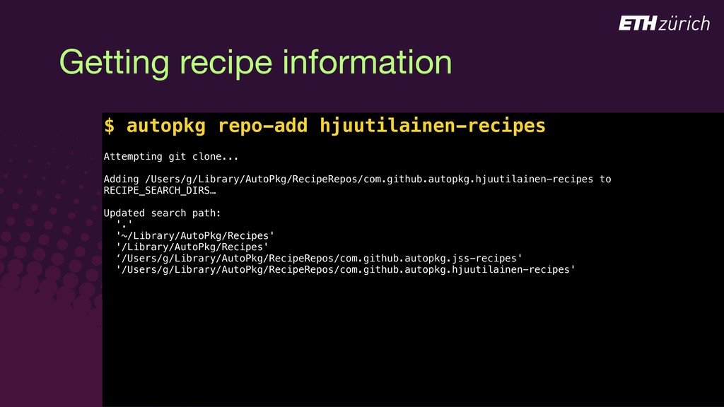 © JAMF Software, LLC Getting recipe information...