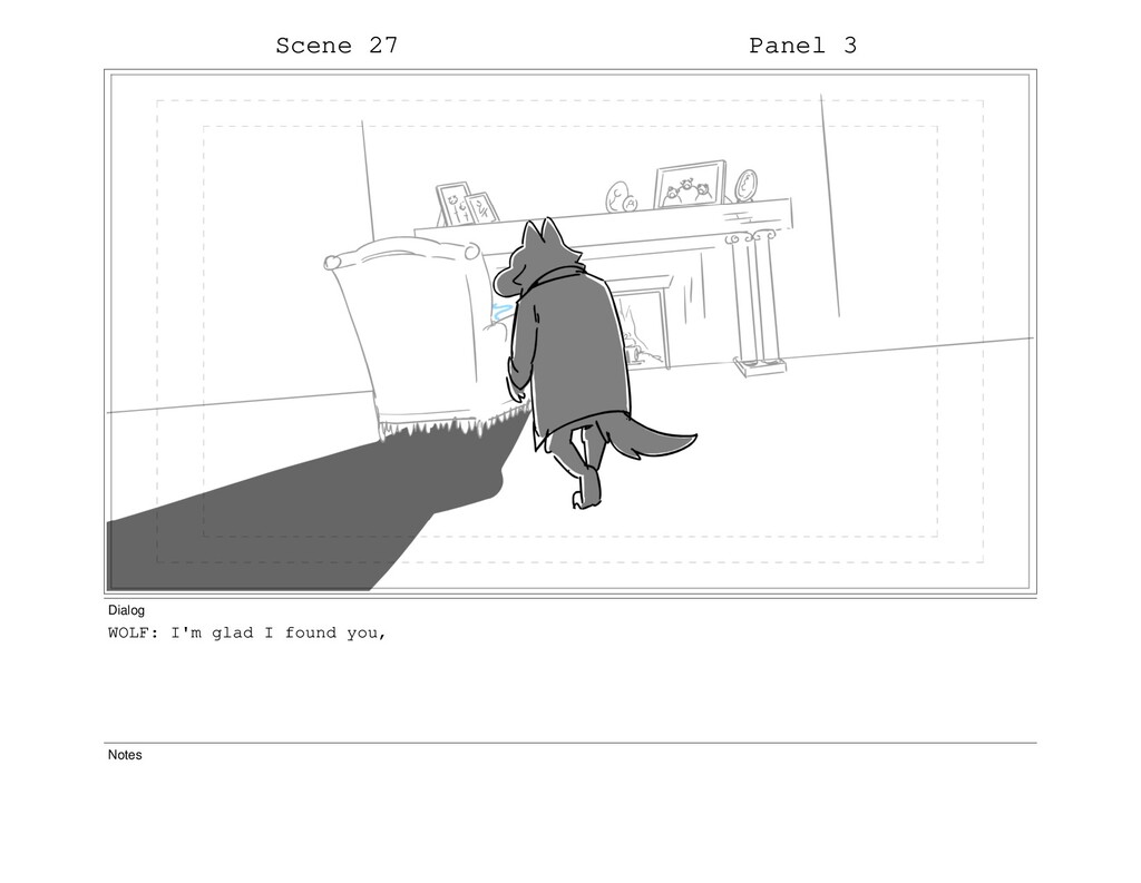 Scene 27 Panel 3 Dialog WOLF: I'm glad I found ...