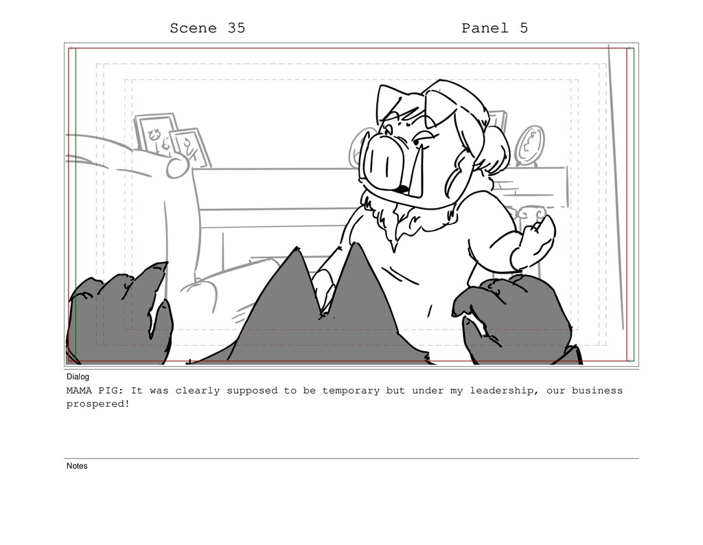 Scene 35 Panel 5 Dialog MAMA PIG: It was clearl...