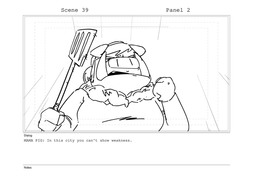 Scene 39 Panel 2 Dialog MAMA PIG: In this city ...