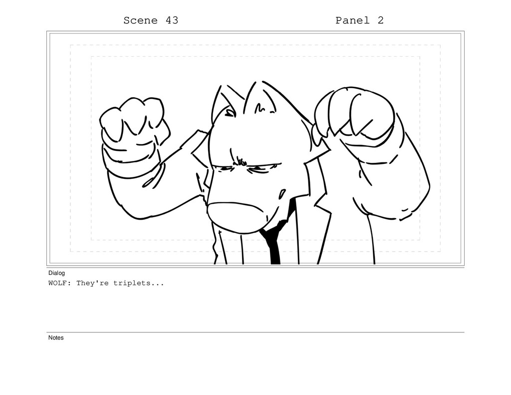 Scene 43 Panel 2 Dialog WOLF: They're triplets....