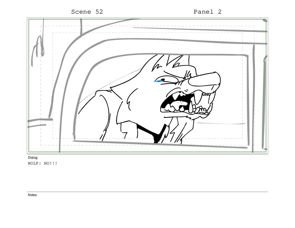 Scene 52 Panel 2 Dialog WOLF: NO!!! Notes