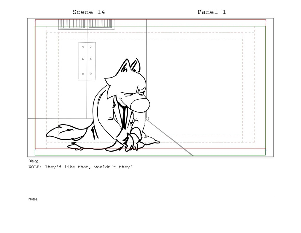 Scene 14 Panel 1 Dialog WOLF: They'd like that,...