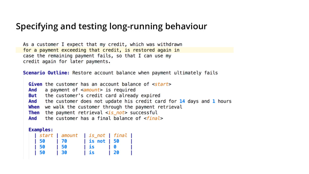 Specifying and testing long-running behaviour