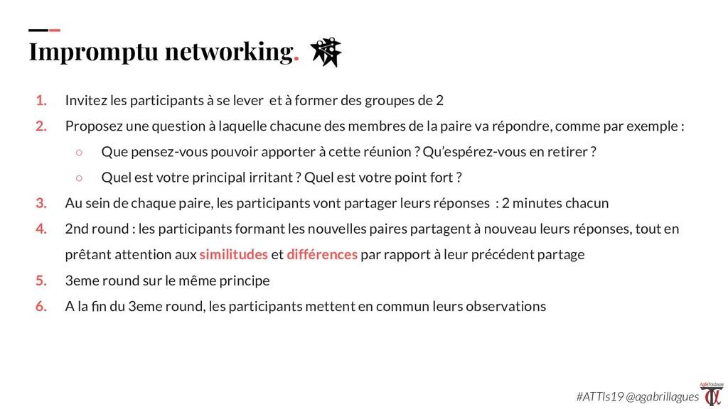 88. Impromptu networking. 1. Invitez les partic...