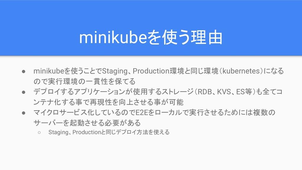 minikubeを使う理由 ● minikubeを使うことでStaging、Productio...