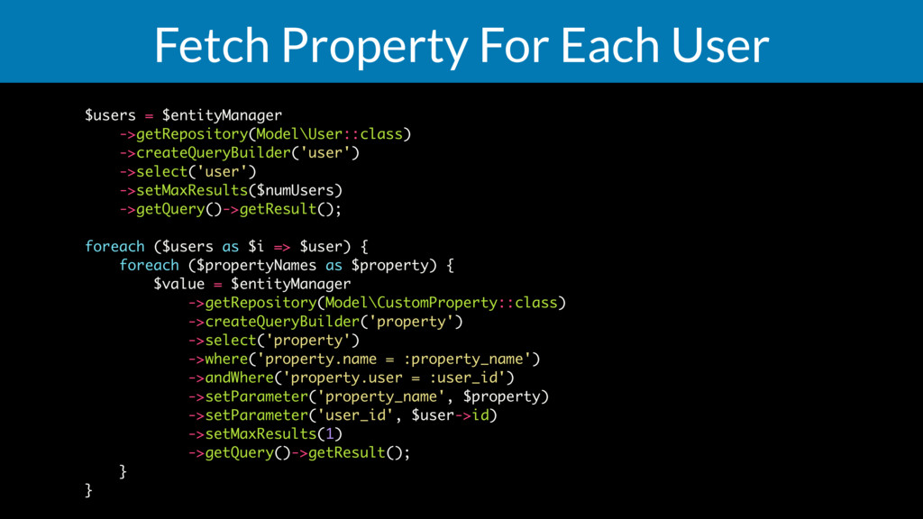 Fetch Property For Each User $users = $entityMa...