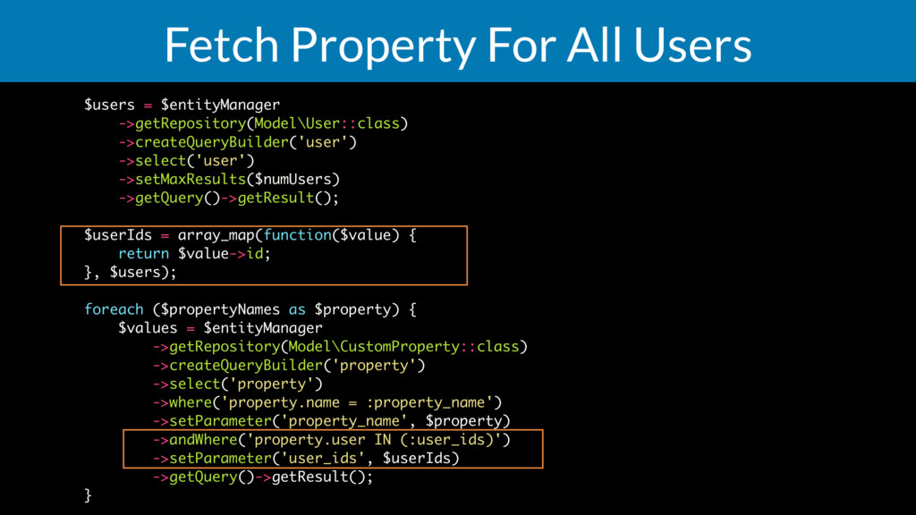 Fetch Property For All Users $users = $entityMa...