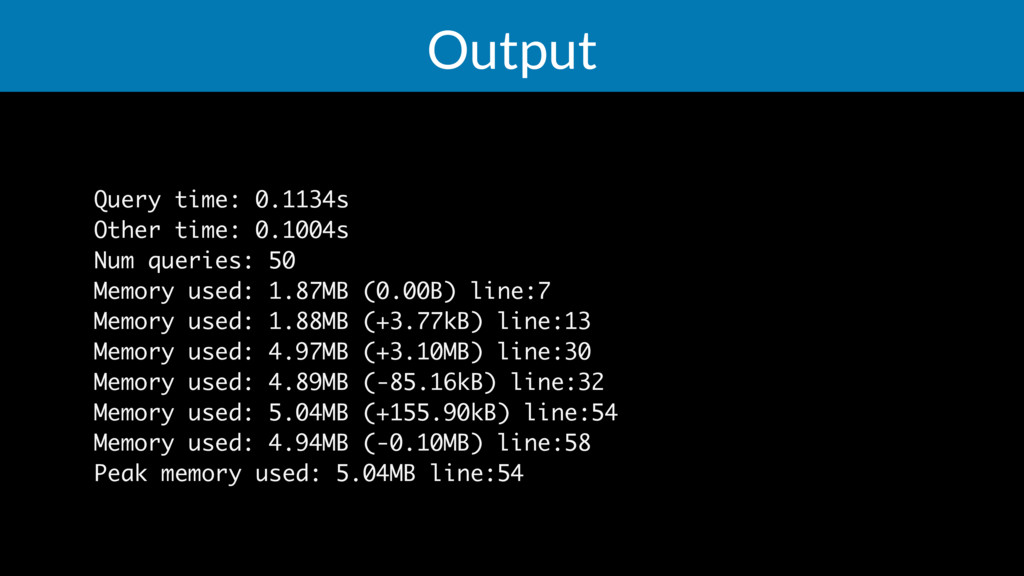 Output Query time: 0.1134s Other time: 0.1004s ...