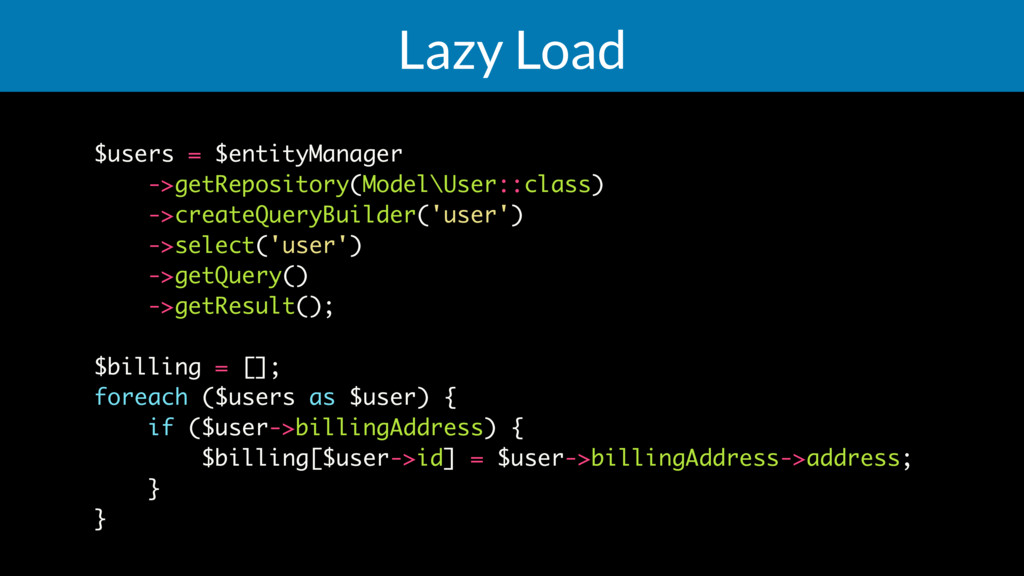 Lazy Load $users = $entityManager ->getReposito...