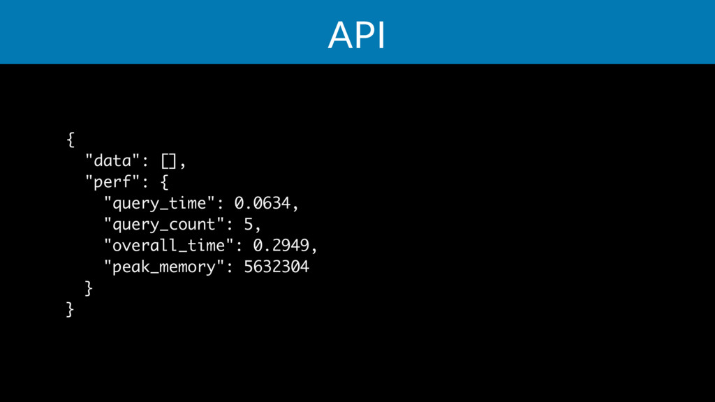 "API { ""data"": [], ""perf"": { ""query_time"": 0.063..."