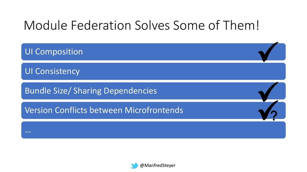 @ManfredSteyer Module Federation Solves Some of...