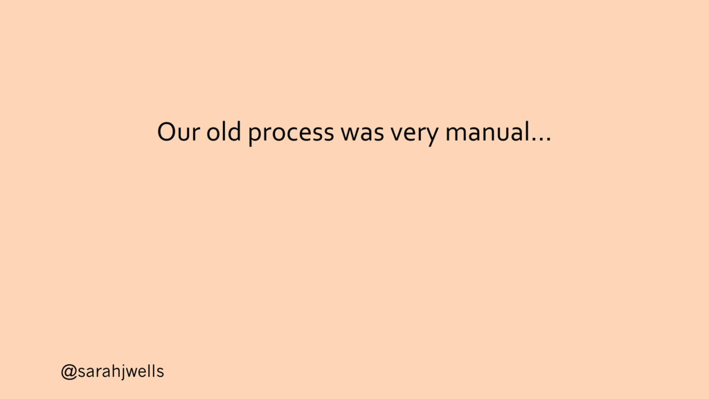 @sarahjwells Our old process was very manual…