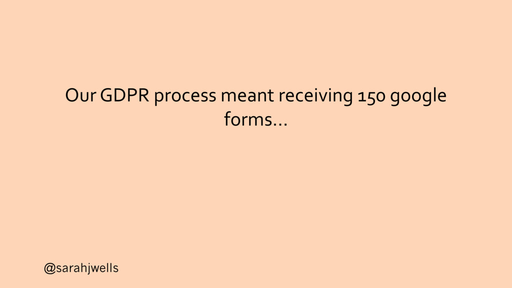 @sarahjwells Our GDPR process meant receiving 1...