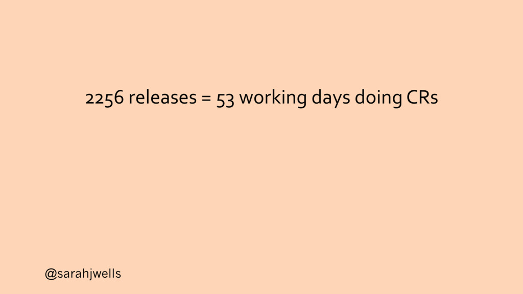 @sarahjwells 2256 releases = 53 working days do...