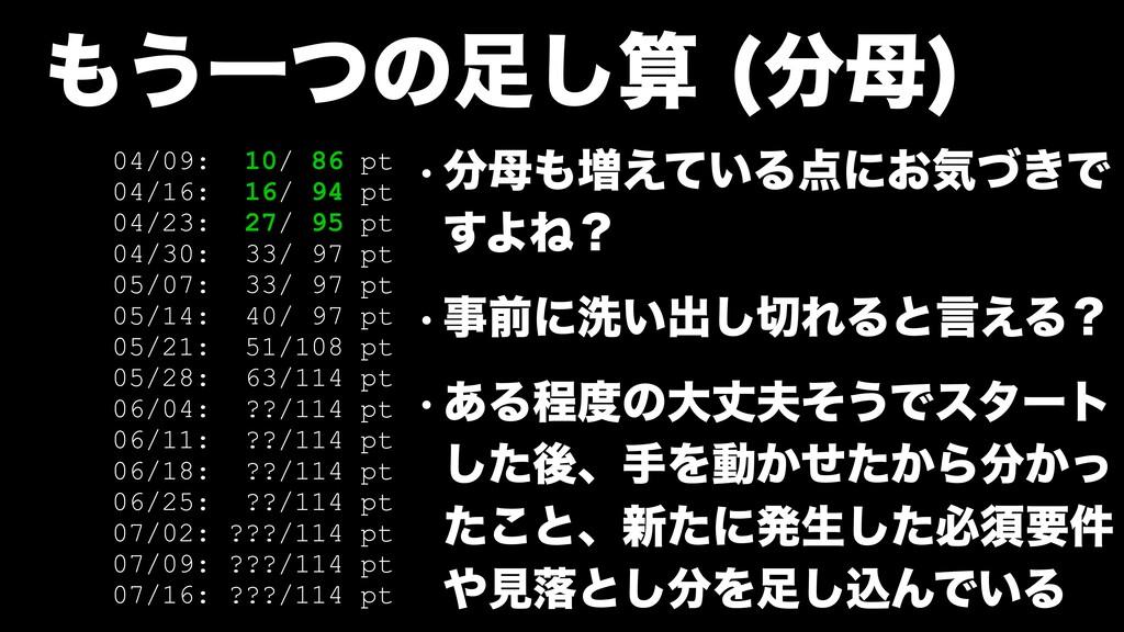 ͏Ұͭͷ͠   04/09: 10/ 86 pt 04/16: 16/ 94 pt...