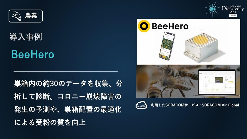 BeeHero 巣箱内の約30のデータを収集、分 析して診断。コロニー崩壊障害の 発生の予測や...