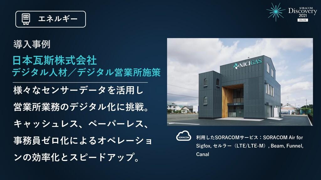 日本瓦斯株式会社 デジタル人材/デジタル営業所施策 様々なセンサーデータを活用し 営業所業務の...
