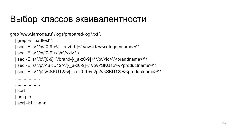 Выбор классов эквивалентности grep 'www.lamoda....