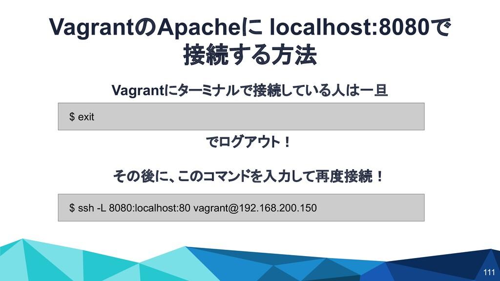 VagrantのApacheに localhost:8080で 接続する方法 Vagrantに...