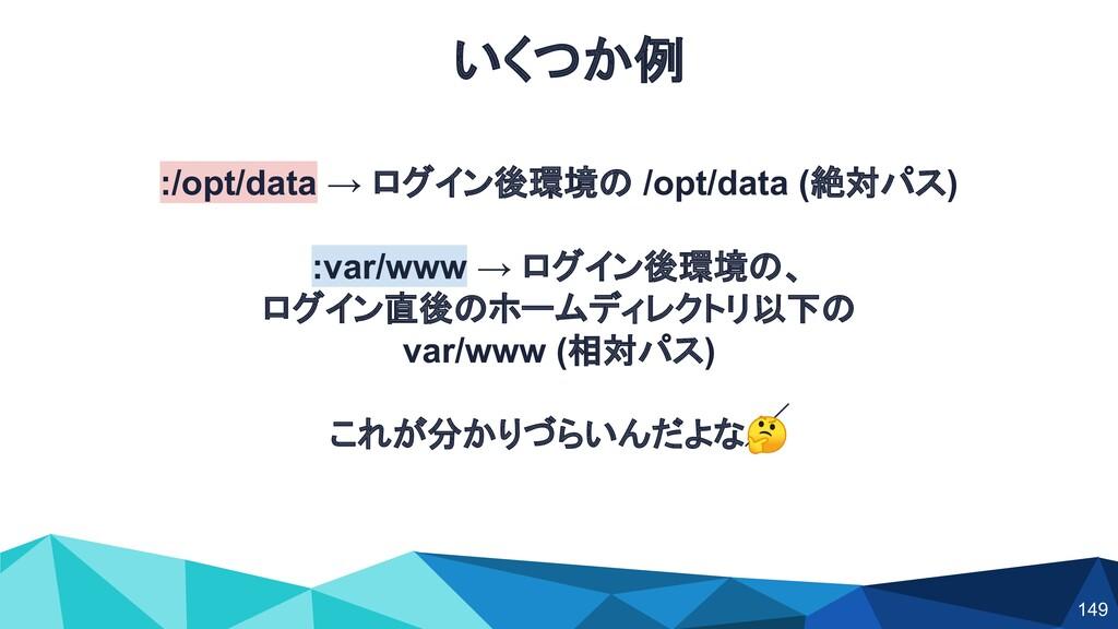 :/opt/data → ログイン後環境の /opt/data (絶対パス) :var/www...