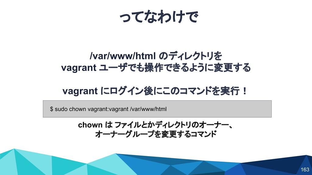 ってなわけで /var/www/html のディレクトリを vagrant ユーザでも操作でき...