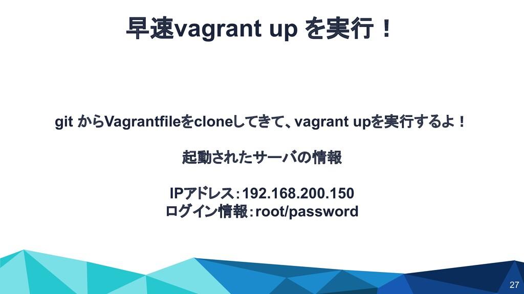 git からVagrantfileをcloneしてきて、vagrant upを実行するよ! 起...