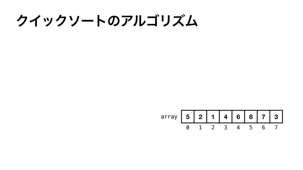 ΫΠοΫιʔτͷΞϧΰϦζϜ array 0 1 2 3 4 5 6 7 5 2 1 4 6 ...