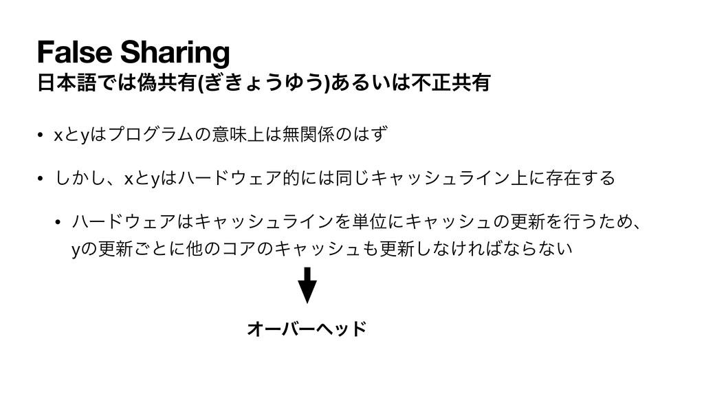 False Sharing ຊޠͰِڞ༗(͖͗ΐ͏Ώ͏)͋Δ͍ෆਖ਼ڞ༗ • xͱyϓϩ...