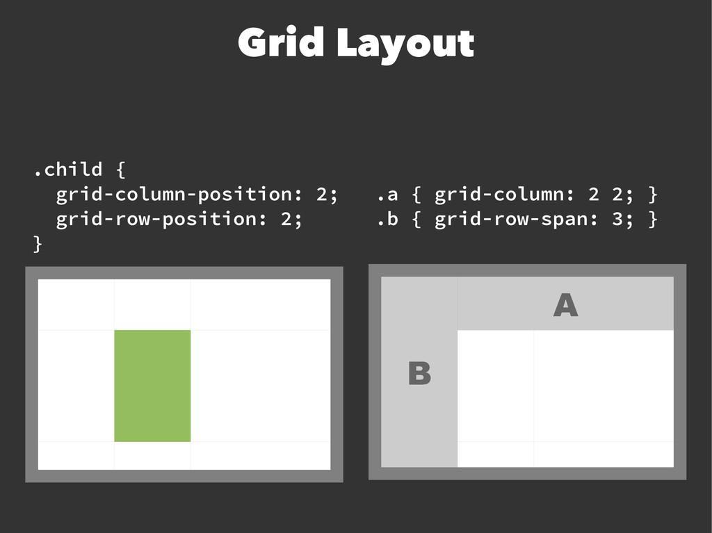 Grid Layout A B .child { grid-column-position: ...
