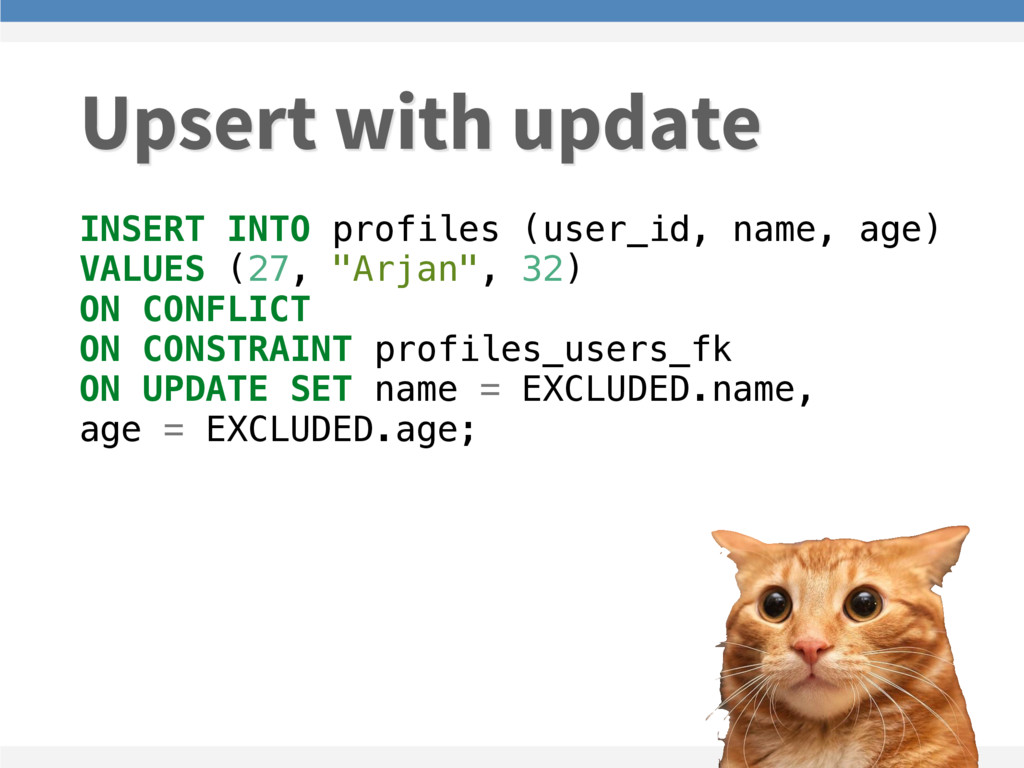 INSERT INTO profiles (user_id, name, age) VALUE...