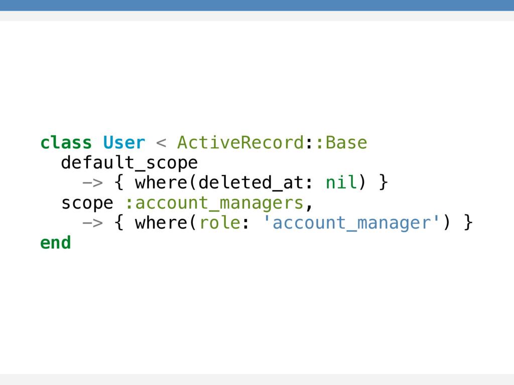 class User < ActiveRecord::Base default_scope -...