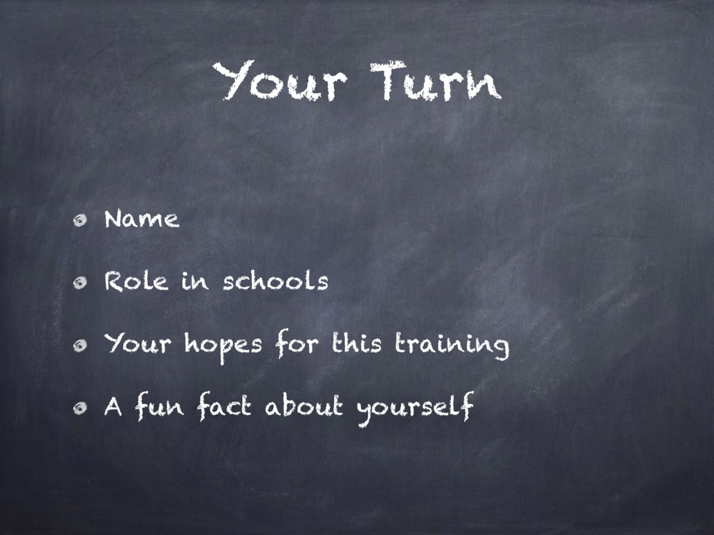 Your Turn Name Role in schools Your hopes for t...
