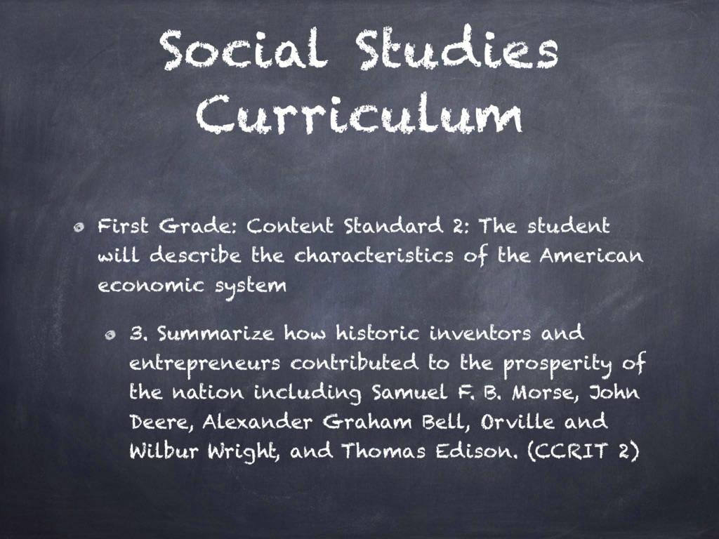 Social Studies Curriculum First Grade: Content ...