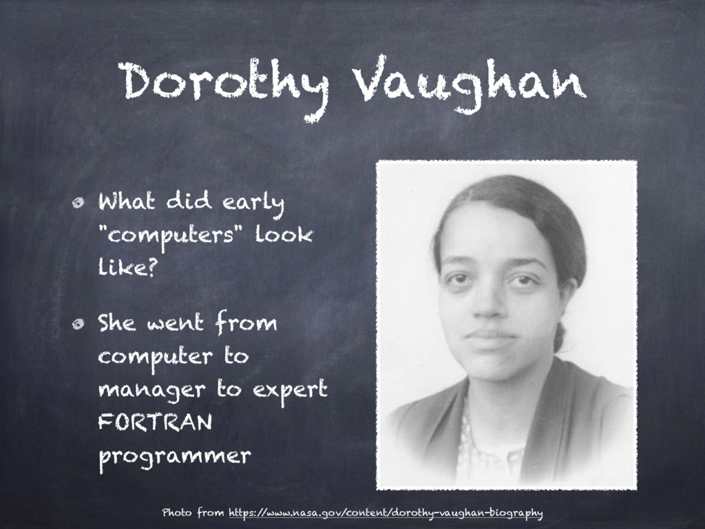 "Dorothy Vaughan What did early ""computers"" look..."