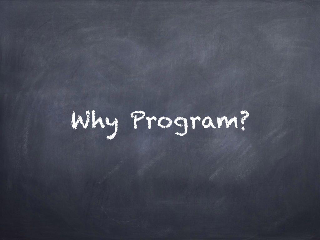 Why Program?