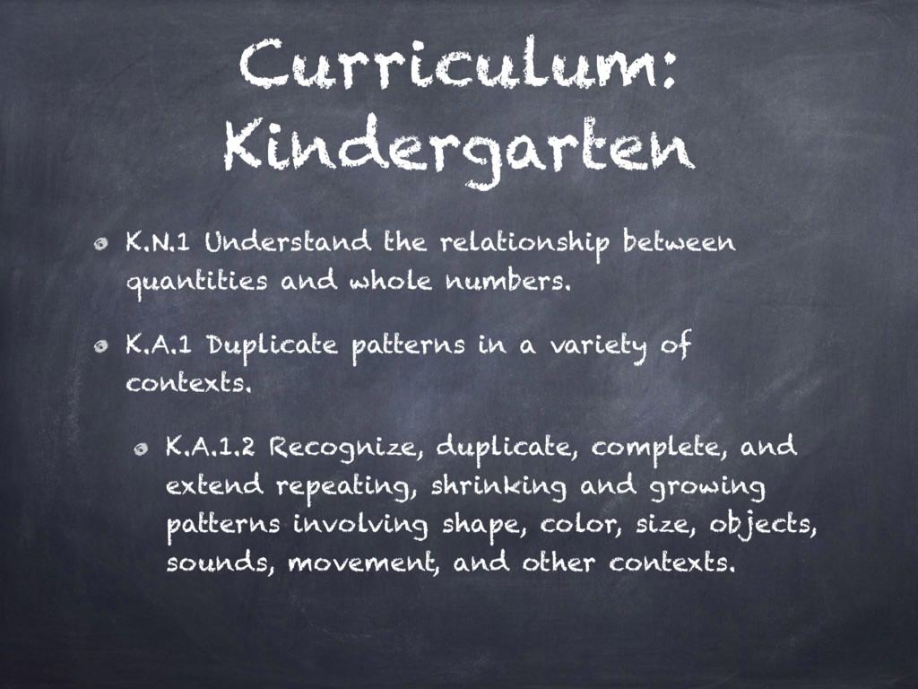 Curriculum: Kindergarten K.N.1 Understand the r...