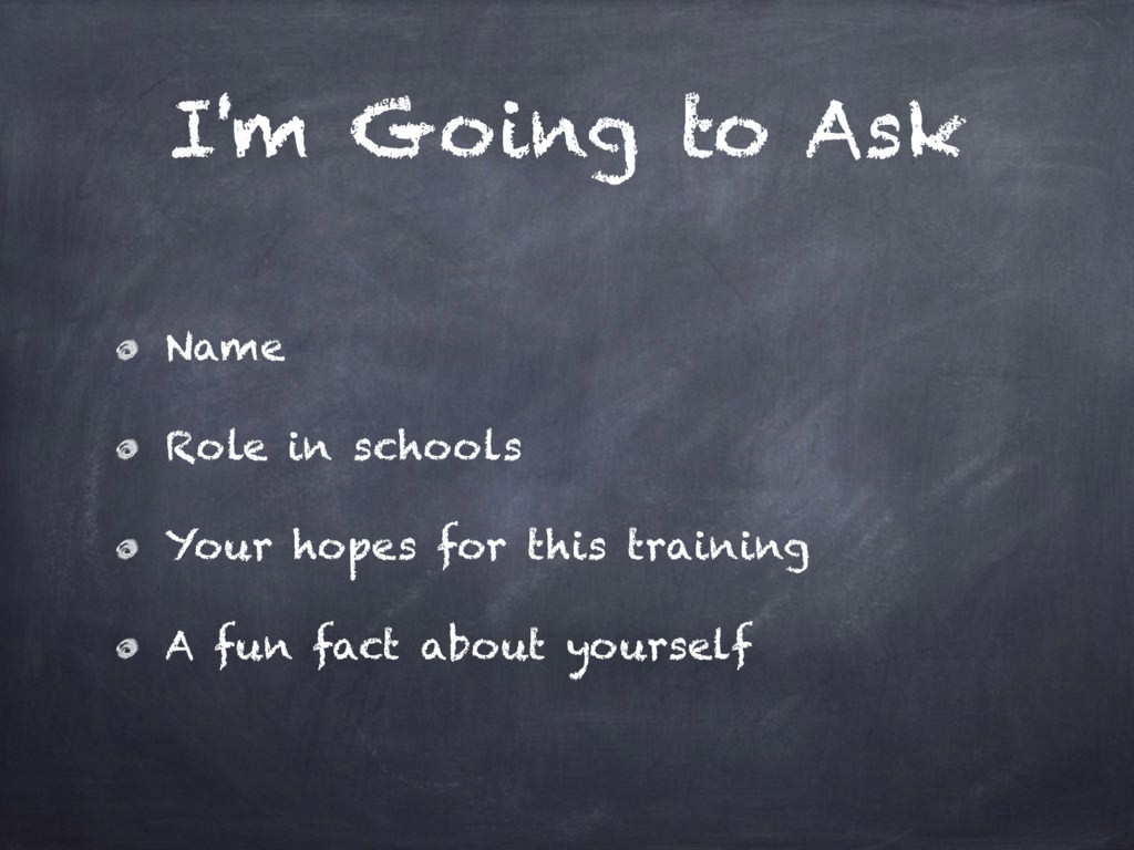 I'm Going to Ask Name Role in schools Your hope...