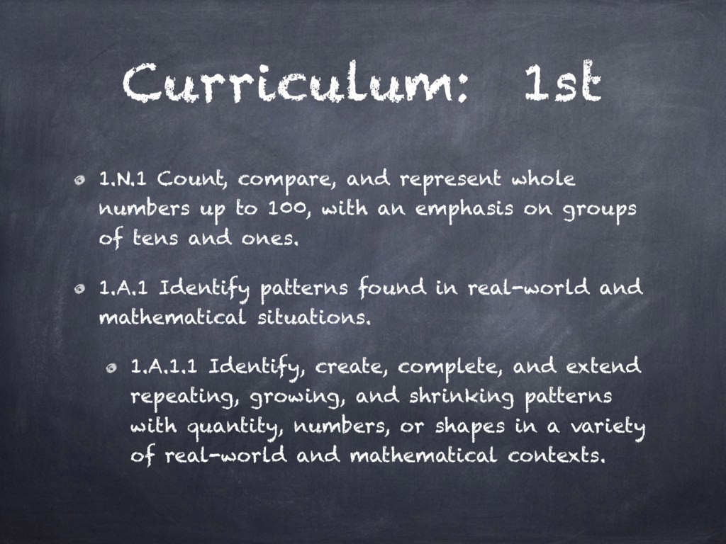 Curriculum: 1st 1.N.1 Count, compare, and repre...