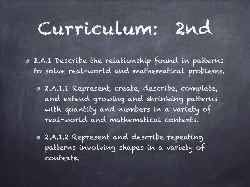 Curriculum: 2nd 2.A.1 Describe the relationship...