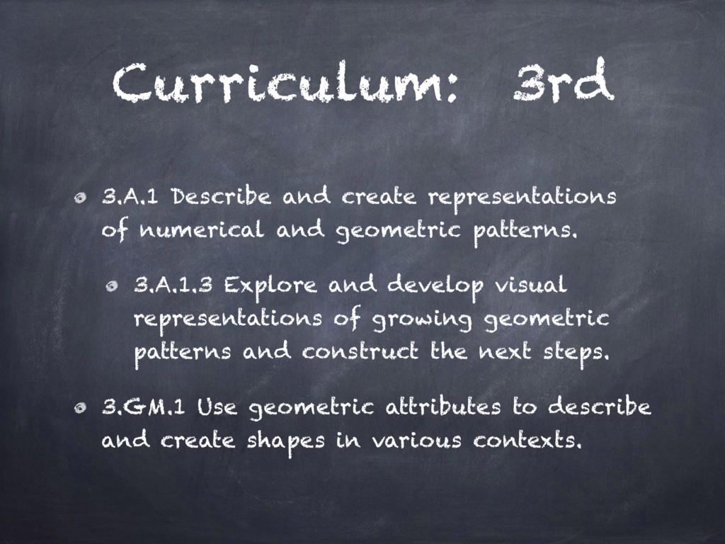 Curriculum: 3rd 3.A.1 Describe and create repre...