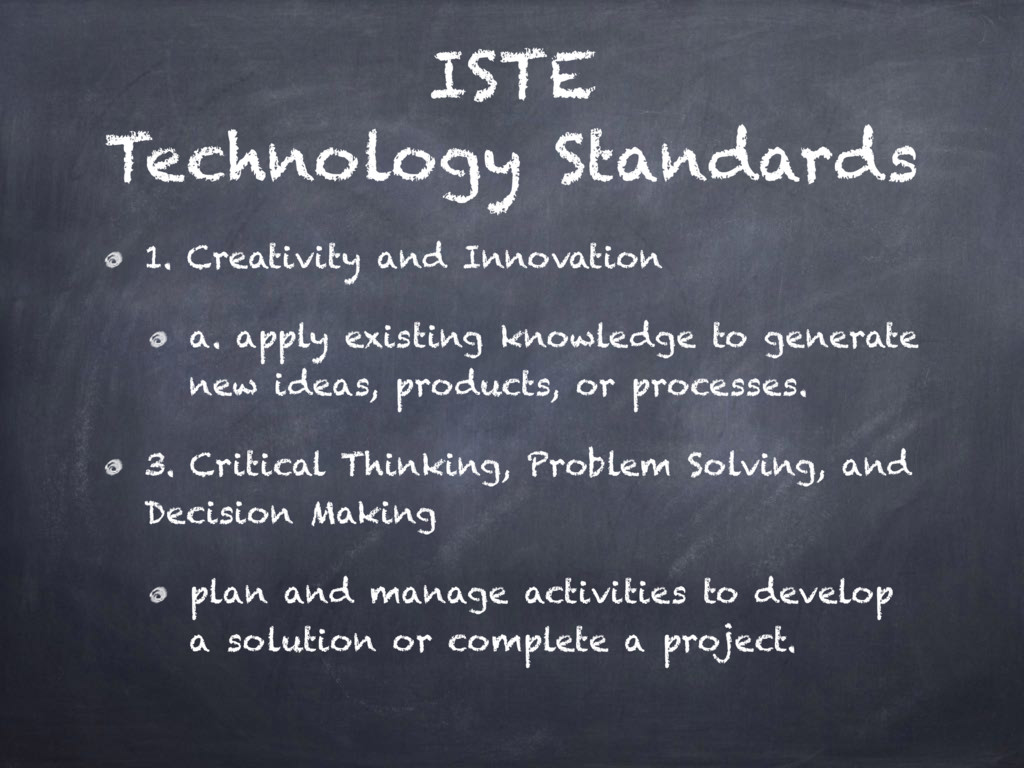 ISTE Technology Standards 1. Creativity and Inn...