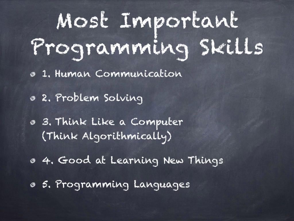 Most Important Programming Skills 1. Human Comm...