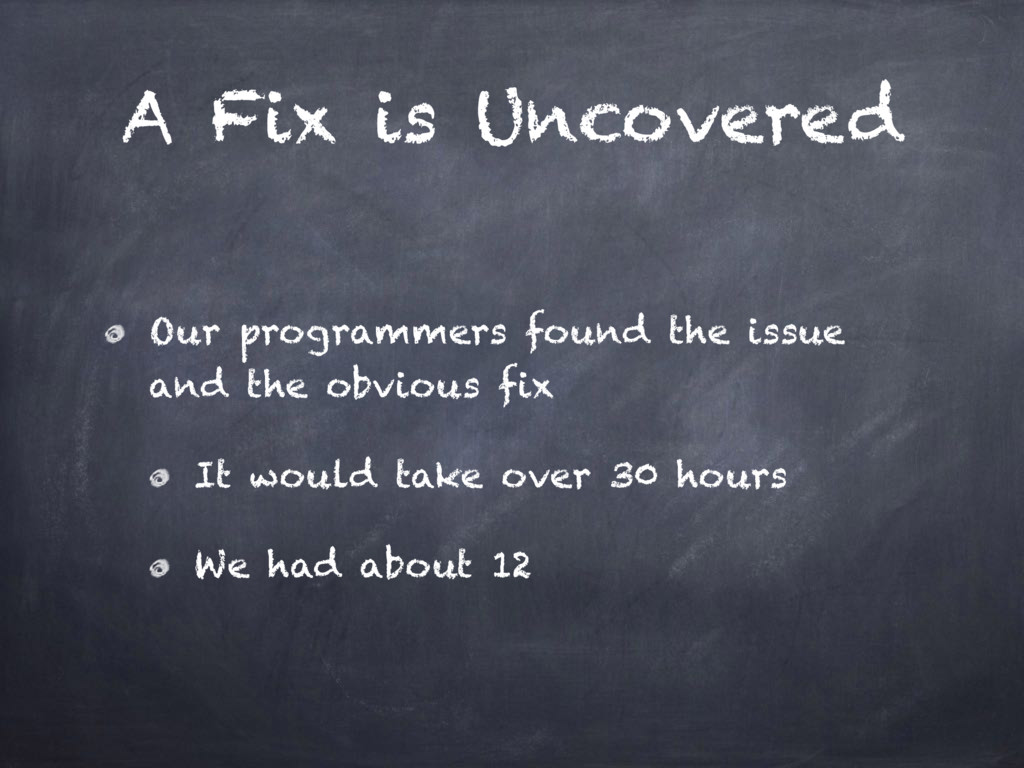 A Fix is Uncovered Our programmers found the is...