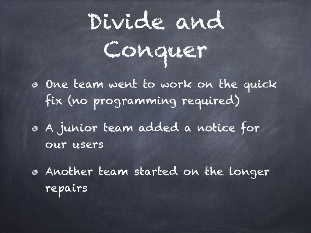 Divide and Conquer One team went to work on the...