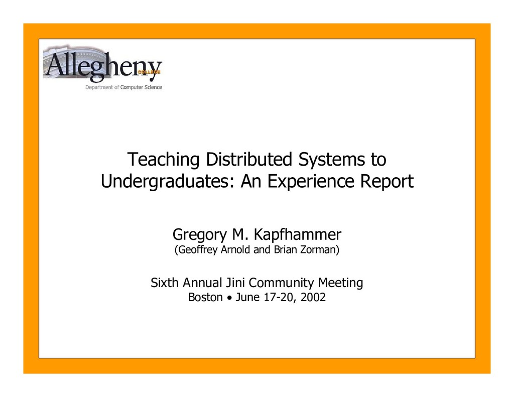 Teaching Distributed Systems to Undergraduates:...