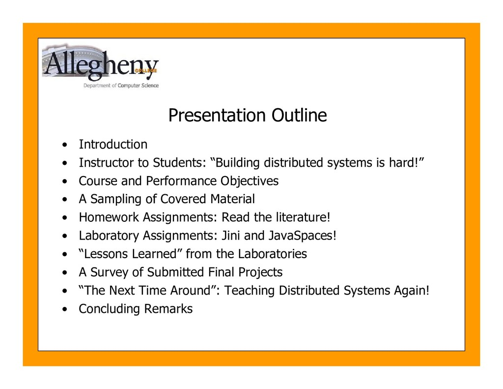 Presentation Outline • Introduction • Instructo...