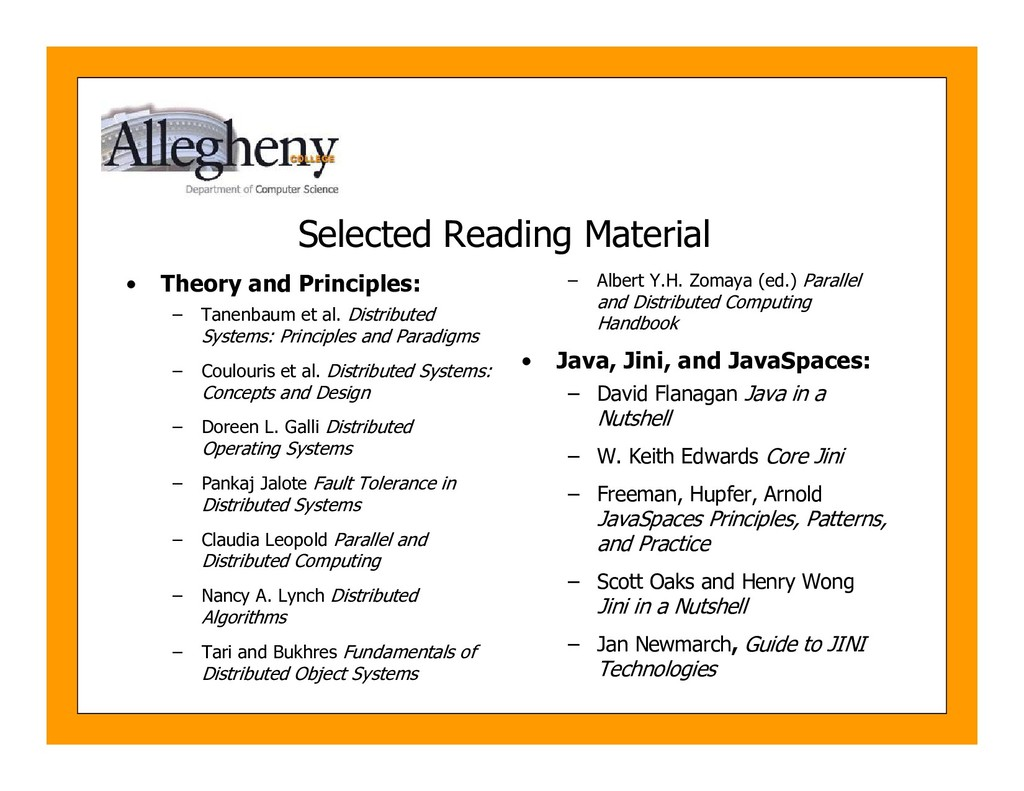 Selected Reading Material • Theory and Principl...
