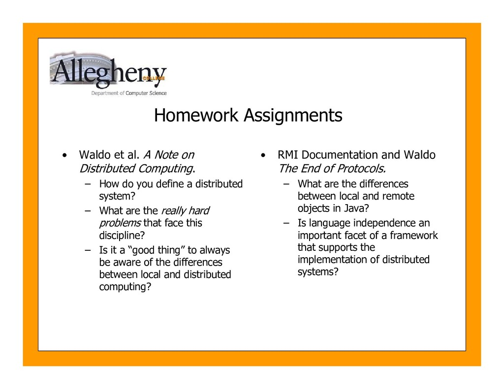 Homework Assignments • Waldo et al. A Note on D...